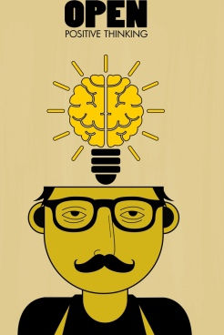 lifestyle background man head lightbulb brain icons decor