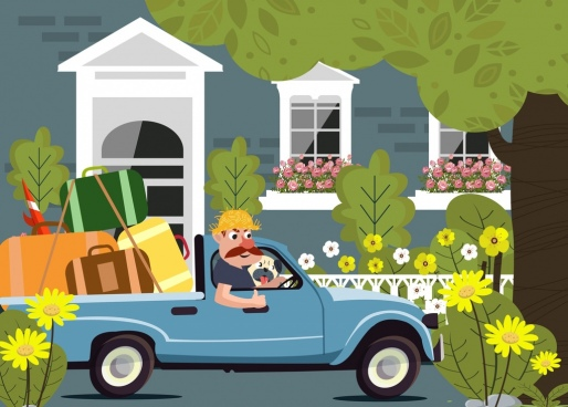 lifestyle background man truck luggage icons cartoon character
