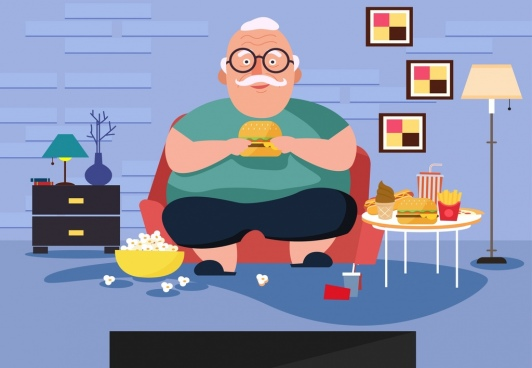 lifestyle background old man fast food cartoon character