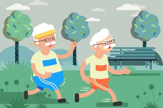 lifestyle background old people exercise icon cartoon design