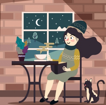 lifestyle background relaxed woman indoors icons cartoon character