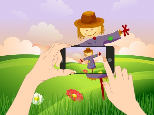 lifestyle background smartphone dummy field icons cartoon design