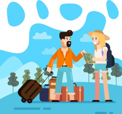 lifestyle background travel theme young couple luggage icons