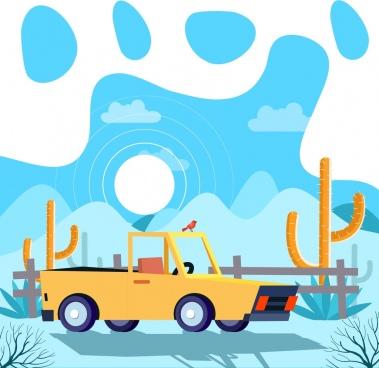 lifestyle background truck desert icons decor