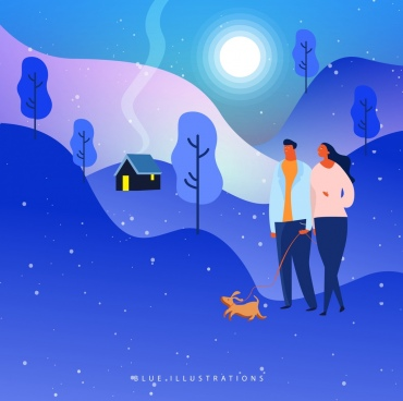 lifestyle background walking couple icon blue decor