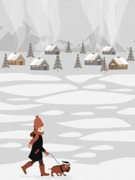 lifestyle background winter theme girl puppy pet icons