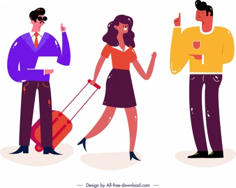 lifestyle background young people icons classical colored design