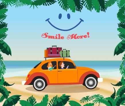 lifestyle banner beach vacation smile icons cartoon design