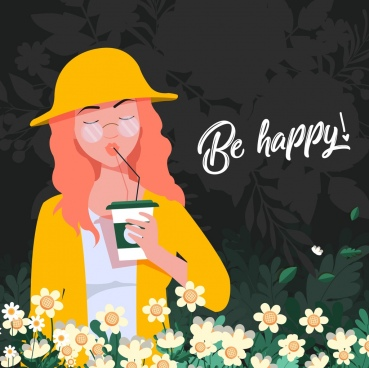 lifestyle banner beautiful girl flowers icons colored cartoon
