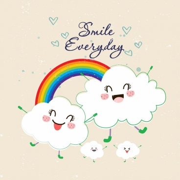 lifestyle banner cute stylized clouds rainbow icons