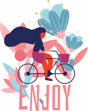 lifestyle banner girl riding bicycle icon classical design