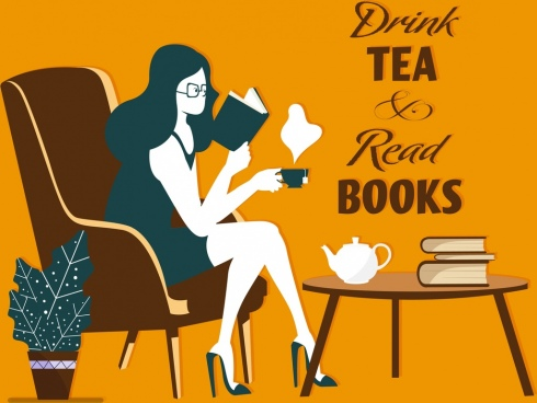 lifestyle banner reading woman tea break icon