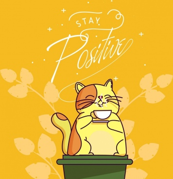lifestyle banner relaxed cat icon cute cartoon design