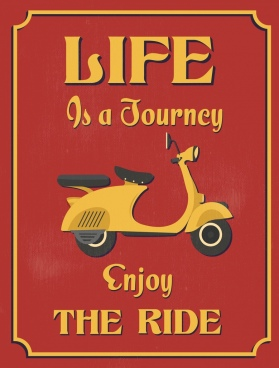 lifestyle banner retro motorcycle icon decor