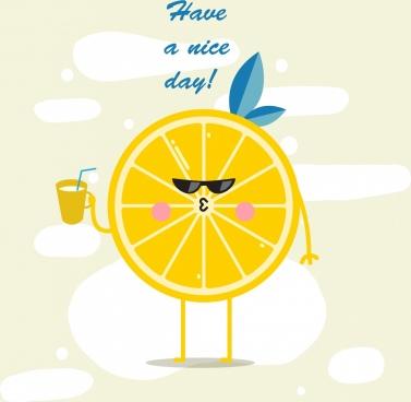 lifestyle banner stylized orange slice icon funny design
