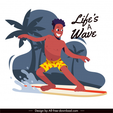 lifestyle banner wave surfing activity sketch cartoon design