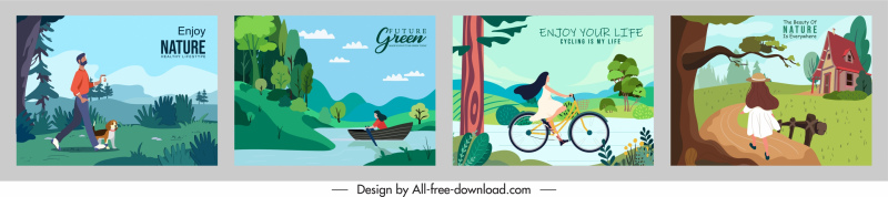 lifestyle banners templates nature friendly theme colorful cartoon