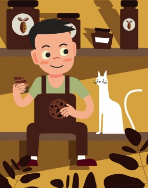 lifestyle drawing boy pet chocolate food icons