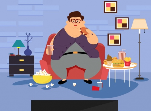 lifestyle drawing fat man icon colored cartoon