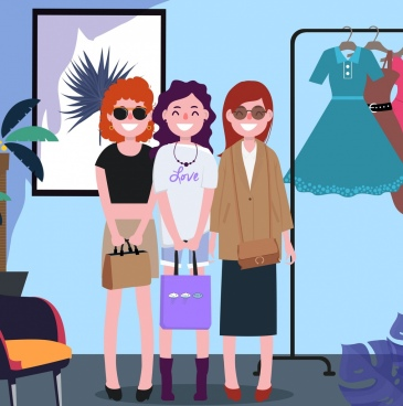 lifestyle drawing ladies young fashion icons cartoon characters