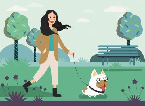 lifestyle drawing park woman pet icons cartoon design