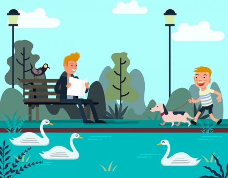lifestyle drawing relaxing people park icons cartoon design