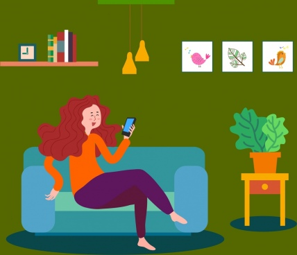 lifestyle drawing relaxing woman smartphone icons colored cartoon