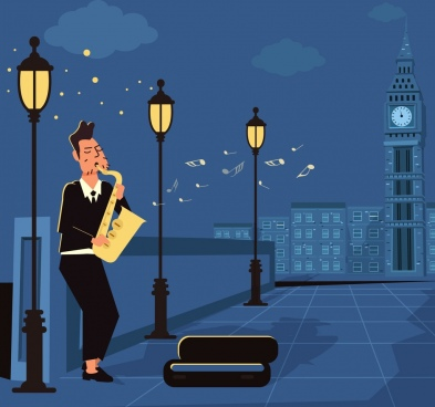 lifestyle drawing street performer lamps icons cartoon design