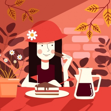 lifestyle drawing woman eating cake icon cartoon design