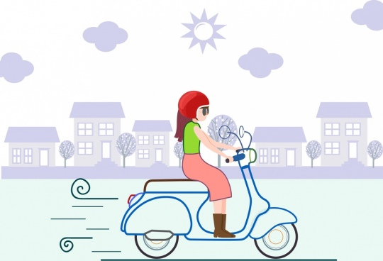 lifestyle drawing woman riding motorbike icon cartoon sketch