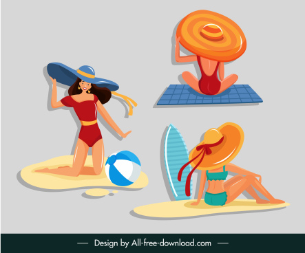 lifestyle icons bikini girls sketch cartoon characters