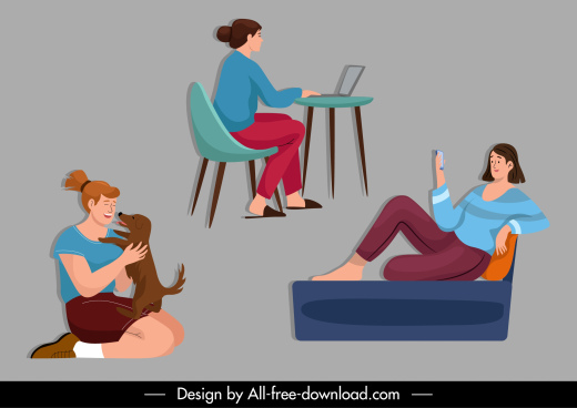 lifestyle icons lady activities sketch cartoon design