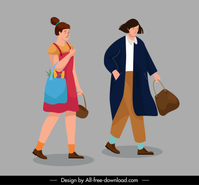 lifestyle icons shopping women sketch cartoon characters