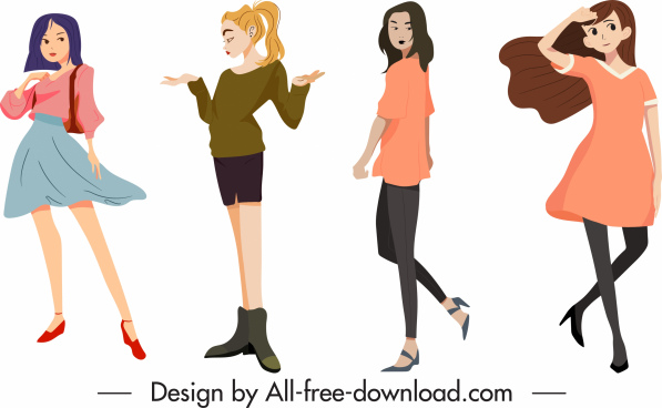 lifestyle icons young girls sketch cartoon characters