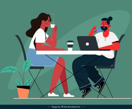 lifestyle painting coffee relaxation sketch flat design