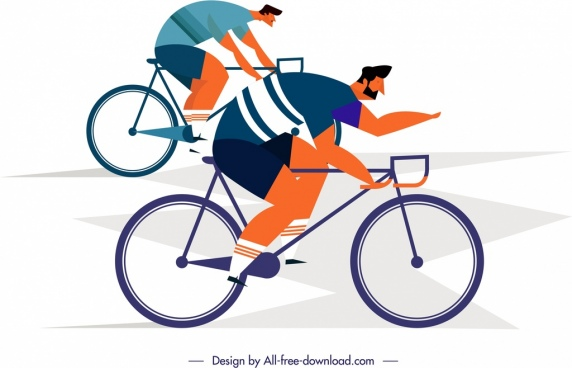 lifestyle painting cyclist icons cartoon characters sketch