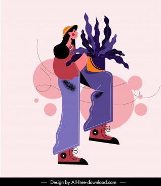 lifestyle painting female gardener sketch flat cartoon design