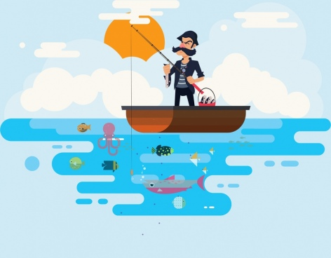 lifestyle painting fishing man icon cartoon character sketch