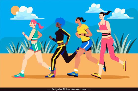 lifestyle painting jogging women sketch cartoon sketch