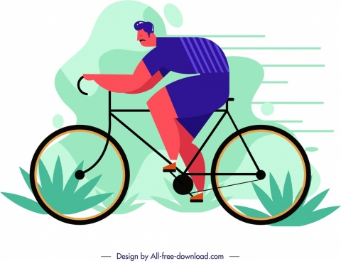 lifestyle painting male cyclist icon cartoon character sketch