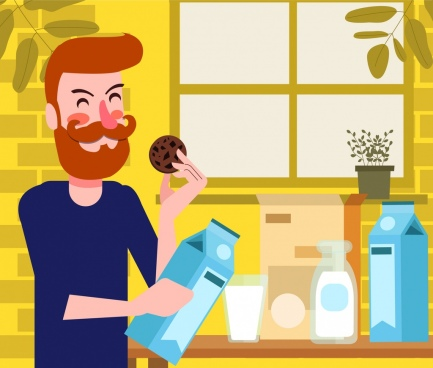 lifestyle painting man breakfast milk cake icons