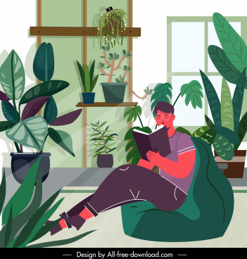 lifestyle painting man reading book sketch cartoon design