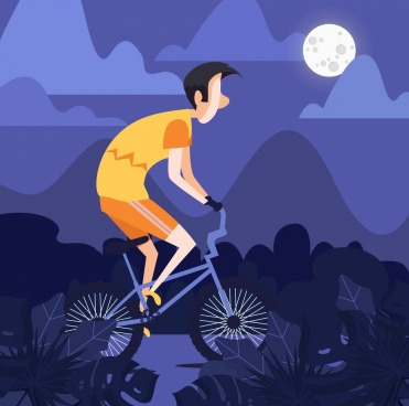 lifestyle painting man riding bicycle moonlight icons decor