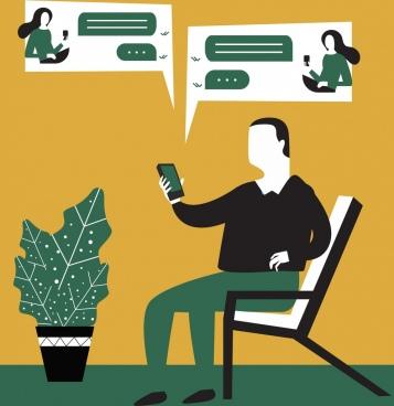 lifestyle painting man smartphone texts conversation icons decor
