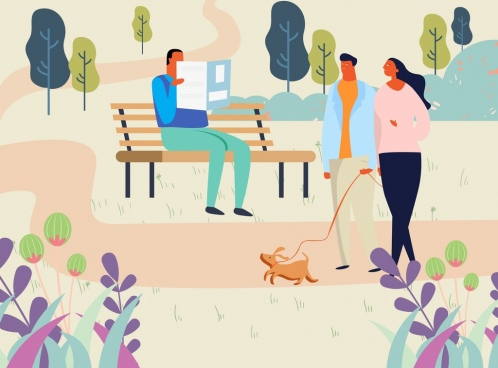 lifestyle painting people relaxing park icon cartoon design