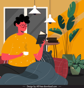 lifestyle painting reading activity home relaxation cartoon design