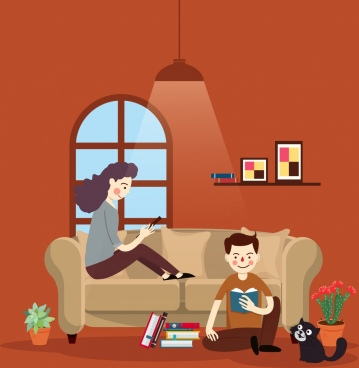 lifestyle painting reading people home icons cartoon design