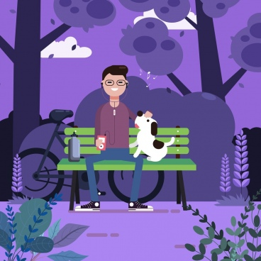 lifestyle painting relaxed man pet park icons