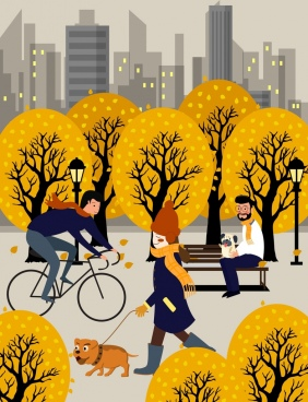 lifestyle painting relaxing people yellow trees cartoon design
