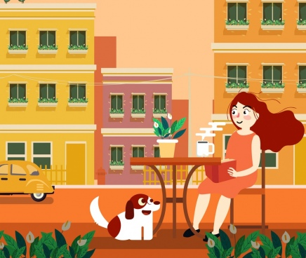 lifestyle painting relaxing woman coffee building facade icons
